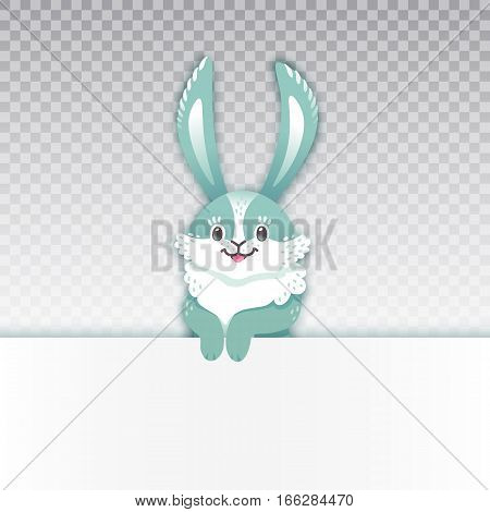 Smiling cartoon rabbit. Funny bunny. Cute hare. Vector illustration grouped and layered easy editing with banner for your text.