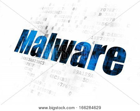 Safety concept: Pixelated blue text Malware on Digital background