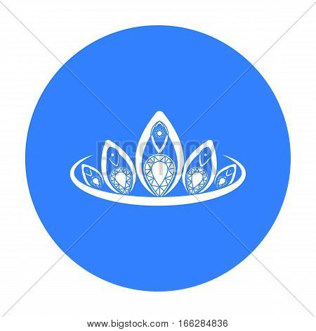 Diadem icon in blue style isolated on white background. Jewelry and accessories symbol vector illustration.