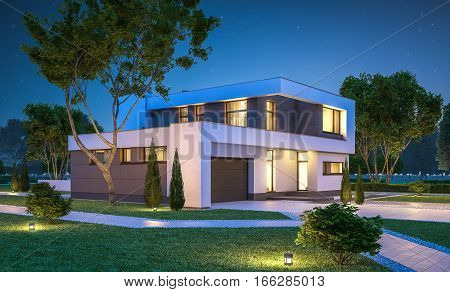 3d rendering of modern cozy house with garage for sale or rent with many grass on lawn. Clear summer night with stars on the sky. Cozy warm light from window