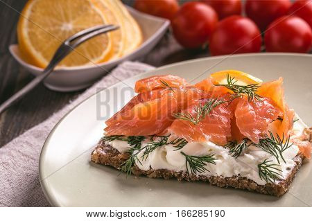Smoked salmon sandwich with cream cheese on plate  close-up shot