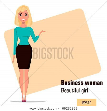 Young cartoon businesswoman wearing business style clothing. Beautiful girl presenting business plan startup. Fashionable modern lady. Vector illustration. EPS10