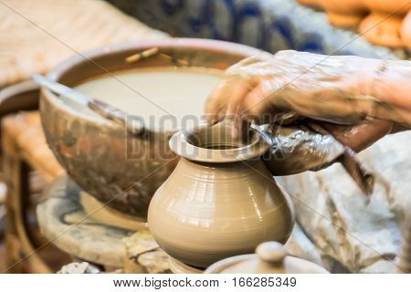 Thai pottery craft Thai pottery style handmade.