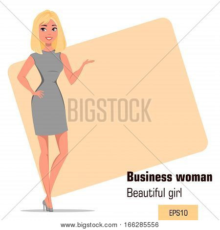 Young cartoon businesswoman wearing strict gray dress. Beautiful girl presenting business plan startup. Fashionable modern lady. Vector illustration. EPS10