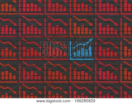 Business concept: rows of Painted red decline graph icons around blue growth graph icon on Black Brick wall background