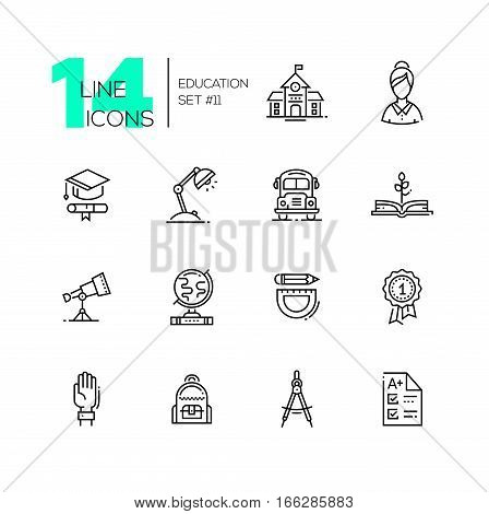 School and education - modern vector line design icons set. School building, female teacher, graduation cap, certificate, lamp, bus, book, telescope, globe, stationery, badge hand backpack compasses test