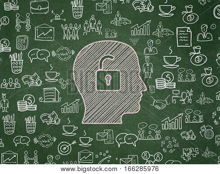 Business concept: Chalk Pink Head With Padlock icon on School board background with  Hand Drawn Business Icons, School Board