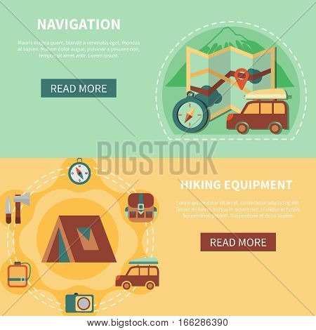 Camping banner set with navigation and hiking equipment elements flat isolated vector illustration