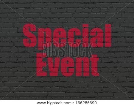 Business concept: Painted red text Special Event on Black Brick wall background