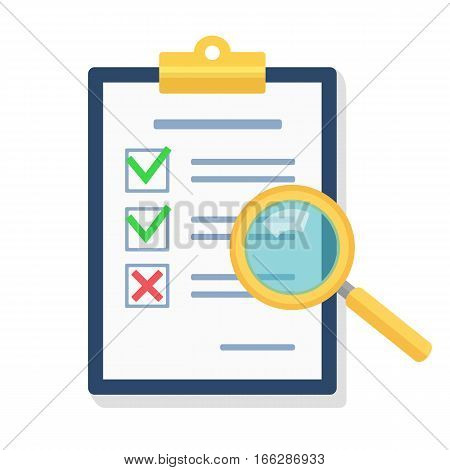 Magnifying glass over clipboard with document.Signed agreement. Vector flat illustration.