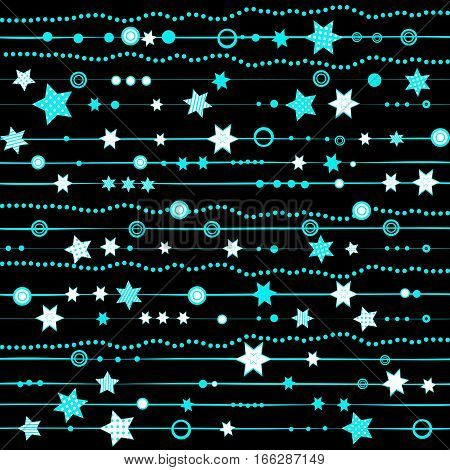 Blue garland with stars and dots over black background
