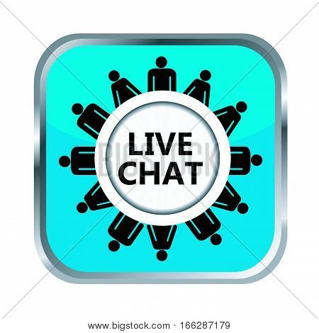 Live chat blue button on white background