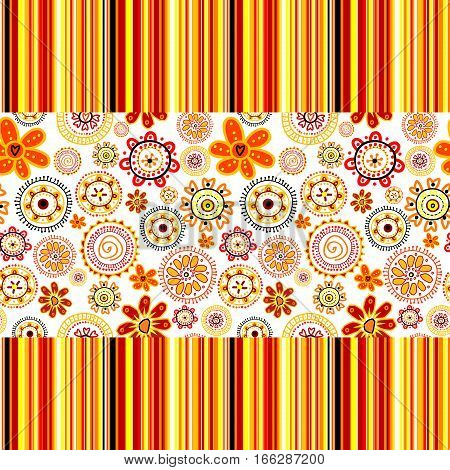 Colorfull background with hand drawn flowers and stripes