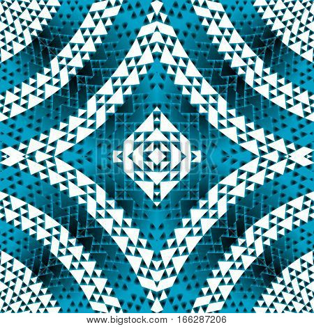 Blue geometrical shapes background witf optical effect