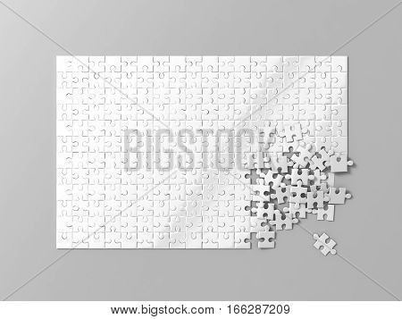 Blank white puzzles game mockup connecting together 3d rendering. Clear jigsaw pieces merging design mock up. Big desktop toy template.