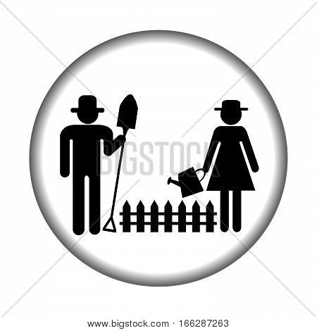 Farmer icon with farmers gardening on white background
