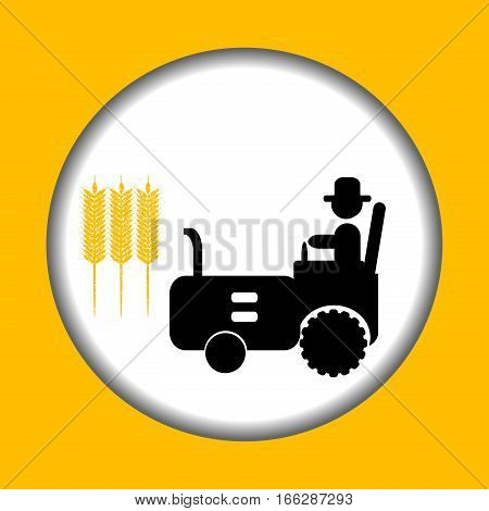 Farm icon with stylized man driving tractor