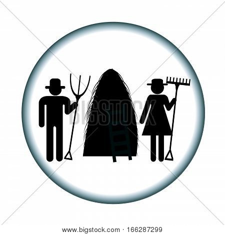 Farm icon with haystack and farmers on white