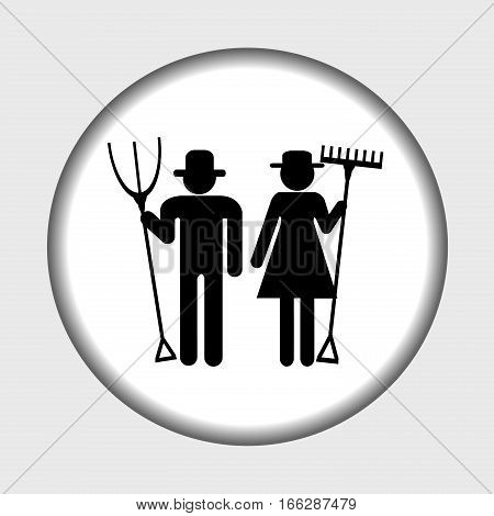Farm icon with farmers man and woman