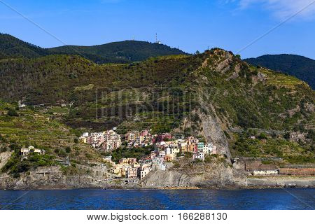Manarola one of five villages in Cinque Terre National Park and is a UNESCO World Heritage Site on Italian Riviera