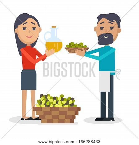 Woman with bottle of olive oil, man with plate of olives isolated. Basket full of olives. Seller propose olives at Spain festival. Flat style design. Best price. Holiday event. Vector illustration