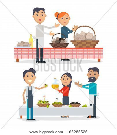 Table with oil and olives in baskets. Tasty bakery with olives. Spain festival of olives concept. Picnic table at market isolated. Olive oil. Seller propose olives. Flat design. Best price. Vector