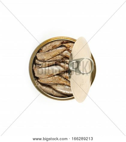 Open can of sprats and other canned smoked fish isolated on white background