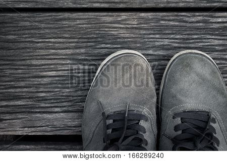 Standing Shoes on the wooden floor background
