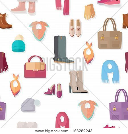 Clothing vector seamless pattern. Flat style illustration. Boots, gloves, bags, hats, scarfs, bandanas, shoes, illustrations on white background. For goods wrapping paper stores ad prints design