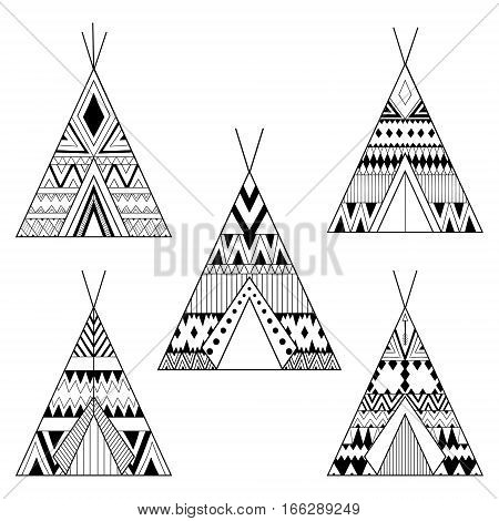 Hand drawn American native wigwams set with ethnic ornamental elements. Teepee boho designs. Monochrome yurt, indian home vector illustration.