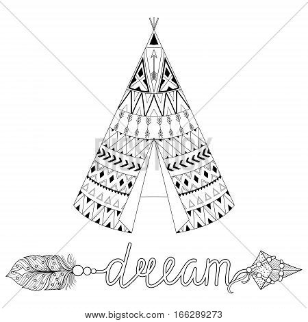 Hand drawn American native wigwam with ethnic ornamental elements, dream arrow with feathers. Teepee boho designs. Monochrome yurt, indian home vector illustration.