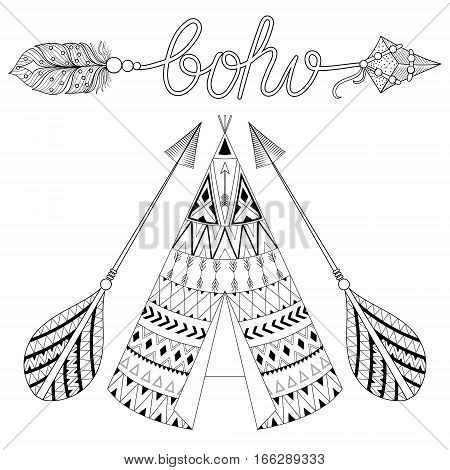 Hand drawn American native wigwam with ethnic ornamental elements, arrows with feathers and boho lettering. Teepee bohemian designs. Monochrome yurt, indian home vector illustration.