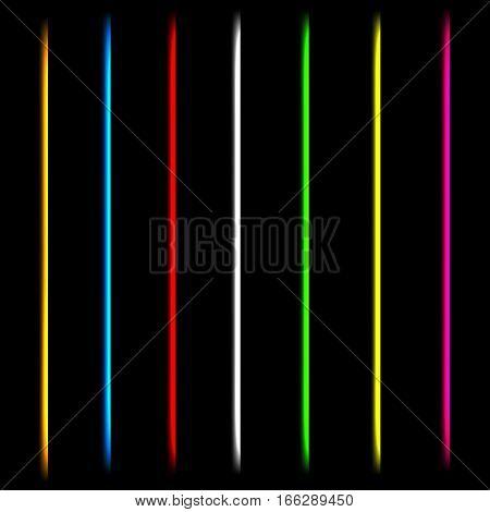 Neon lazer tube light lines. Isolated illustration