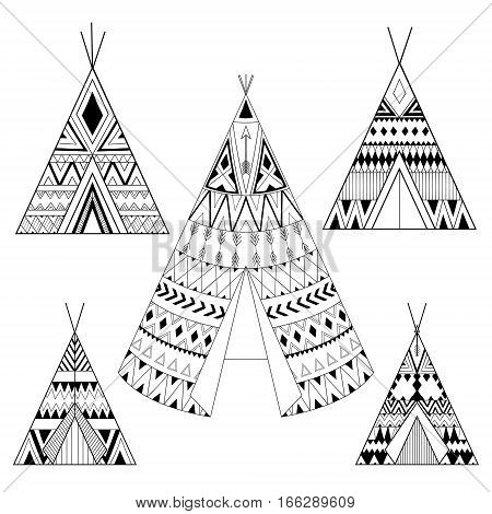 Hand drawn American native five wigwams set with ethnic ornamental elements. Teepee boho designs. Monochrome yurt, indian home vector illustration.