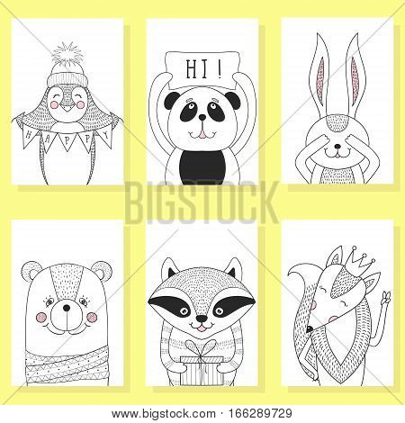 Funny animals cartoon, children illustration. Greeting card templates, banners, hand drawn brochures, invitations, book cover. Cute fox, bear, penguin, raccoon, rabbit, panda for kids party.