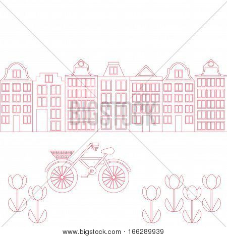 Amsterdam city flat line art. Travel landmark architecture of netherlands Holland houses european building isolated set bike and flowers.