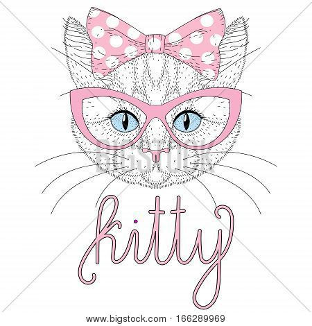 Cute anthropomorphic kitty portrait with pin up bow on head. Hand drawn cat face, cheerful fashion animal, pussycat cartoon illustration for t-shirt print, greeting card, invitation for pet party.