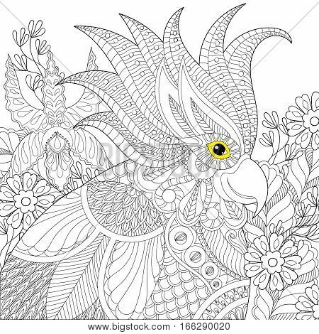Exotic zentangle cockatoo parrot for adult anti stress coloring pages, book, bird head in tropical flowers for art therapy, greeting card. Hand drawn patterned illustration.