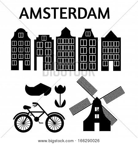 Amsterdam city flat art. Travel landmark, architecture of netherlands, Holland houses, european building isolated set, windmill, bridge, bike, shoes and lamp