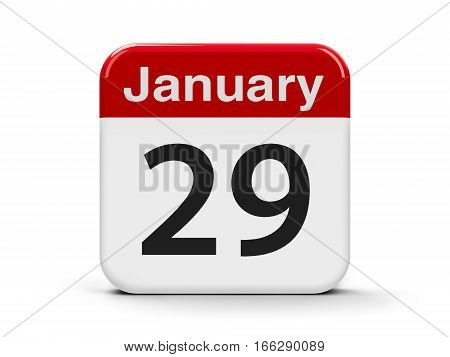 Calendar web button - The Twenty Ninth of January three-dimensional rendering 3D illustration