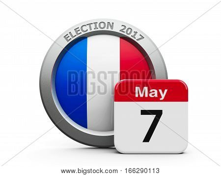 Emblem of France with calendar button - The Seventh of May - represents the Election Day 2017 in France three-dimensional rendering 3D illustration