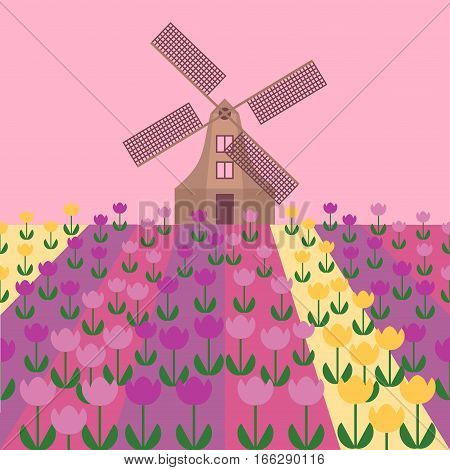 Amsterdam city flat art. Travel landmark, architecture of netherlands, Holland houses, windmill in tulips,