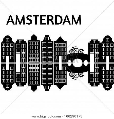 Amsterdam city flat art. Travel landmark architecture of netherlands Holland houses european building isolated bridge and bike