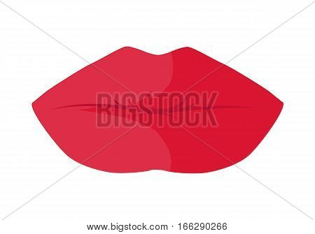 Women s lips icon. Closed sensitive female mouth colored bright red lipstick flat vector illustration isolated on white background. For cosmetic, beauty, fashion concepts, app buttons, web design