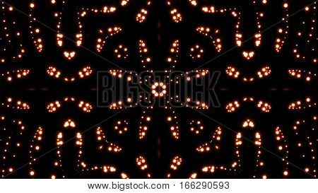 Glowing particles kaleidoscope with black background. Shining elements