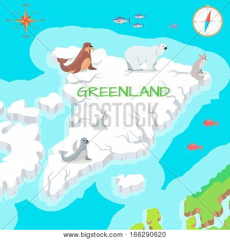 Greenland mainland cartoon map with fauna and flora species. Walrus, polar bear, arctic fox, rabbit, seal, tuna flat vectors. Arctic animals on ice. Nature concept for children s book illustrating