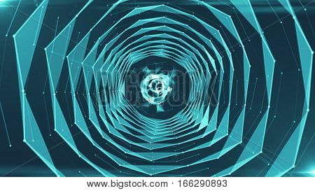 Abstract background with triangles tunnel. Technology backdrop