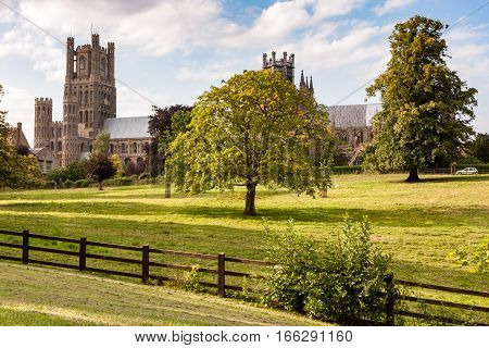 The medieval Ely cathedral in the East Anglian city of Ely Cambridgeshire UK also known as the Ship of the Fens.