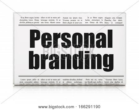 Advertising concept: newspaper headline Personal Branding on White background, 3D rendering