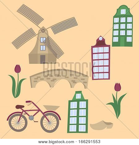 Amsterdam city flat line art. Travel landmark, architecture of netherlands, Holland houses, european building isolated set